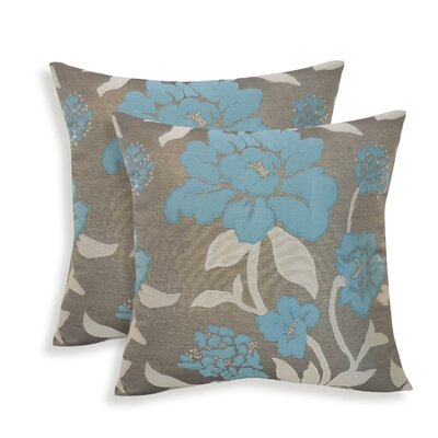 Rosemary Silken Jacquard Floral Toss Pillow Color: Slate
