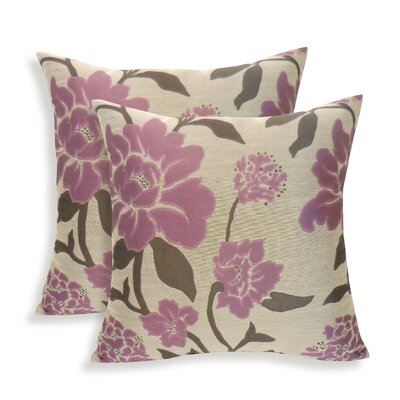 Rosemary Silken Jacquard Floral Toss Pillow Color: Plum