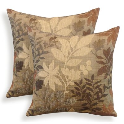 Bristol Chenille Jacquard Leaf Throw Pillow Color: Taupe