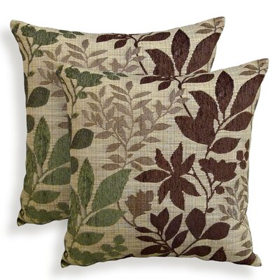 Bristol Chenille Jacquard Leaf Throw Pillow Color: Olive
