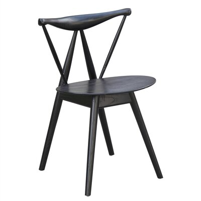 Fronter Solid Wood Dining Chair Finish: Black
