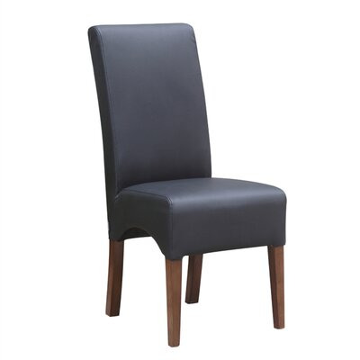 Dinata Genuine Leather Upholstered Dining Chair Upholstery: Black