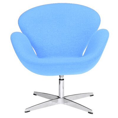 Swan Swivel Armchair Upholstery: Light Blue