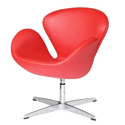 Swam Swivel Barrel Chair Color: Red