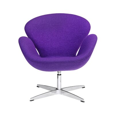 Swan Swivel Armchair Upholstery: Purple