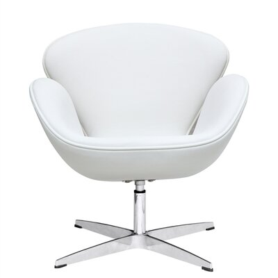 Swam Swivel Barrel Chair Color: White