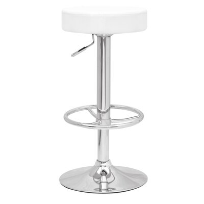 Ex Adjustable Height Swivel Bar Stool Upholstery: White