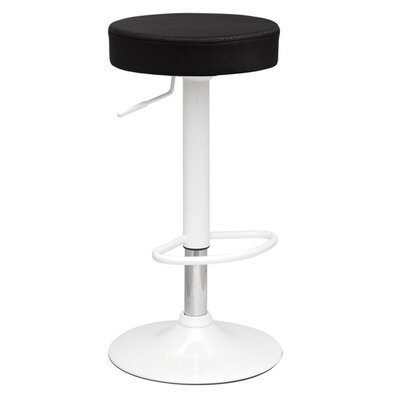 Angle Adjustable Height Swivel Bar Stool Upholstery: Black