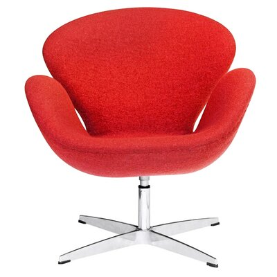 Swan Swivel Armchair Upholstery: Orange