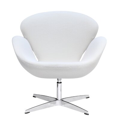 Swan Swivel Armchair Upholstery: White