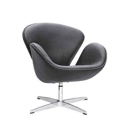 Swam Swivel Barrel Chair Color: Black