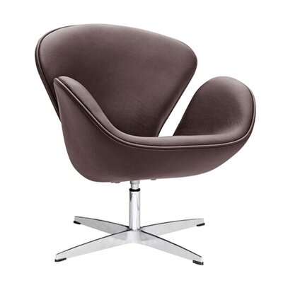 Swam Swivel Barrel Chair Color: Dark Brown