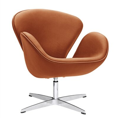 Swam Swivel Barrel Chair Color: Light Brown