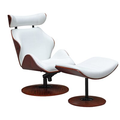 Luxur Lounge Chair and Ottoman Set Upholstery: White