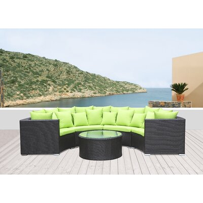 Roundano Sectional Seating Group with Cushions Fabric: Green