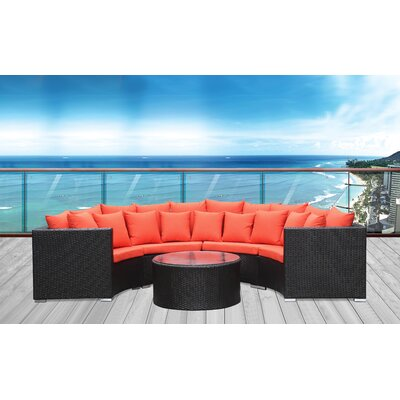 Roundano Sectional Seating Group with Cushions Fabric: Orange