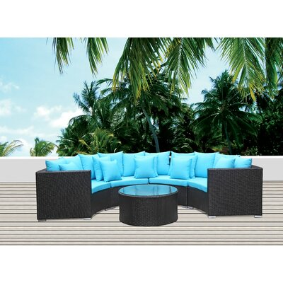 Roundano Sectional Seating Group with Cushions Fabric: Blue