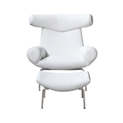 Big Lounge Chair and Ottoman Set Color: White