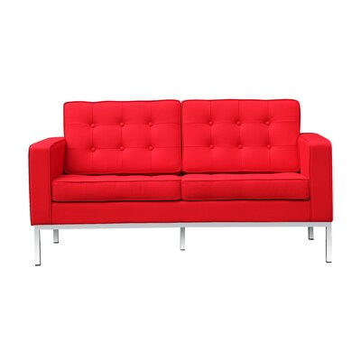 Button Loveseat Upholstery: Red