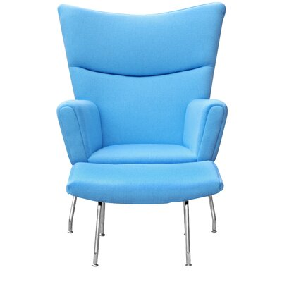 Wing Wing back Chair and Ottoman Upholstery: Blue