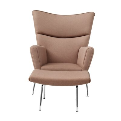 Wing Wing back Chair and Ottoman Upholstery: Khaki