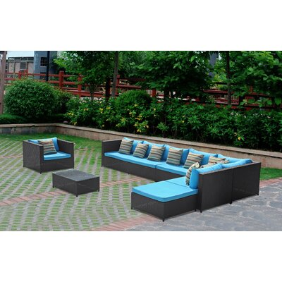 Garden 7 Piece Sectional Seating Group with Cushions Color: Blue
