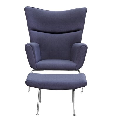 Wing Wing back Chair and Ottoman Color: Gray