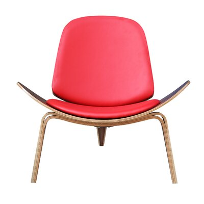 Shell Arm Chair Upholstery: Red