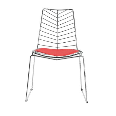 Wire Leaf Side Chair Upholstery: Red
