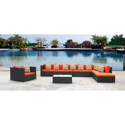 Garden 7 Piece Sectional Seating Group with Cushions Color: Orange