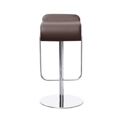 Lem Adjustable Height Swivel Bar Stool Upholstery: Brown