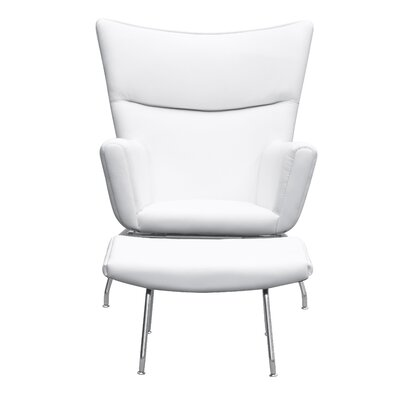 Wing Lounge Chair and Ottoman Set Color: White