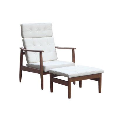 Vod Lounge Chair and Ottoman Set Color: White