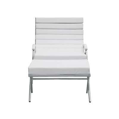 Classic Lounge Chair and Ottoman Set Color: White