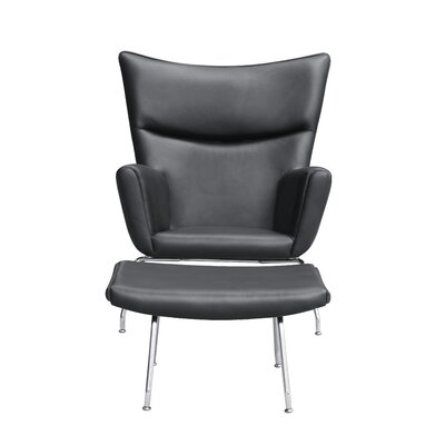 Wing Lounge Chair and Ottoman Set Color: Black