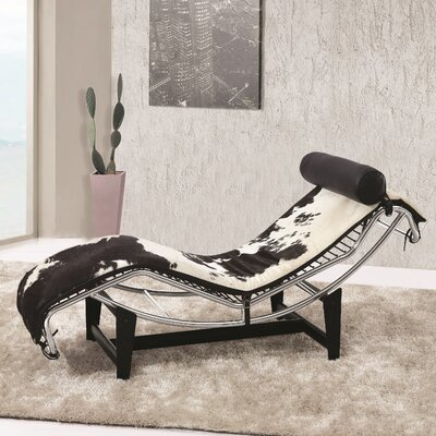 Chaise Lounge Upholstery: Black / White
