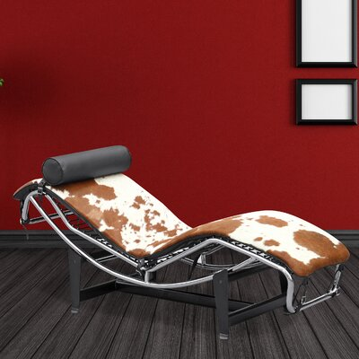 Chaise Lounge Upholstery: Brown / White
