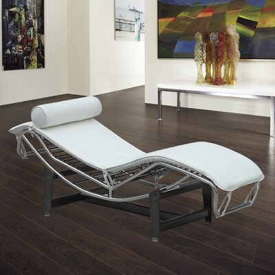 Leather Chaise Lounge Upholstery: White