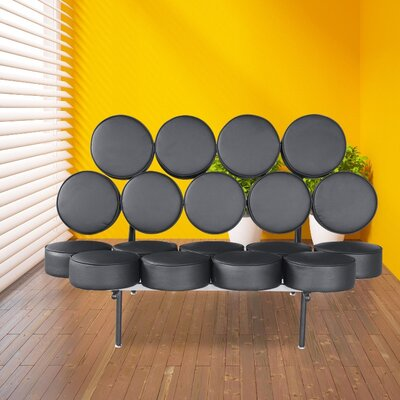 Leather Circle Loveseat Upholstery: Black