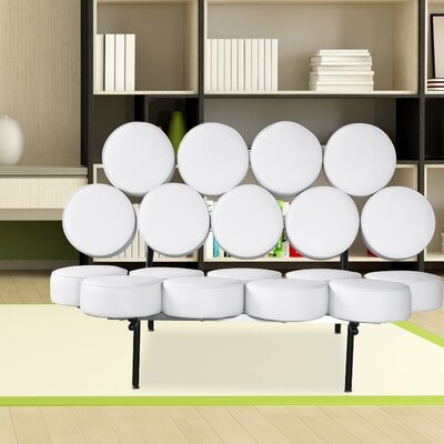 Leather Circle Loveseat Upholstery: White