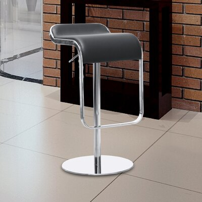 Lem Adjustable Height Swivel Bar Stool Upholstery: Black