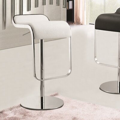 Lem Adjustable Height Swivel Bar Stool Upholstery: White