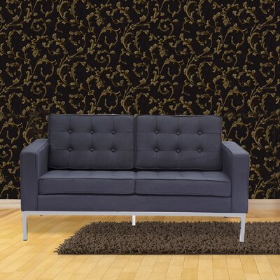 Button Loveseat Upholstery: Black
