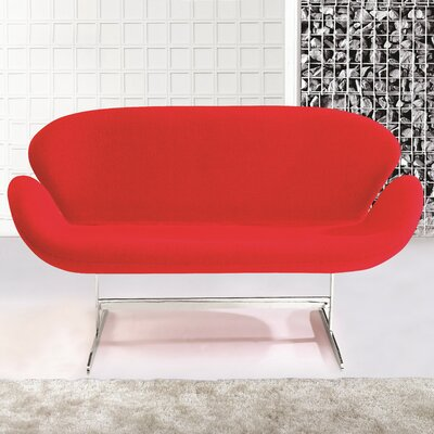 Swan Loveseat Upholstery: Red