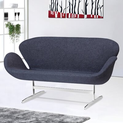 Swan Loveseat Upholstery: Black