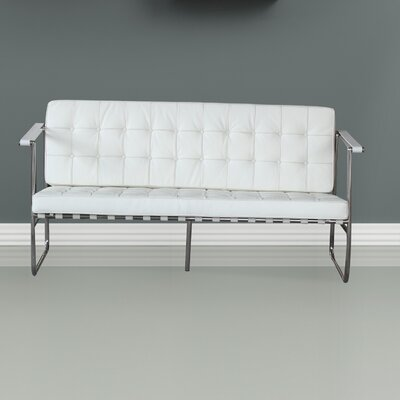 Celona Leather Sofa Upholstery: White