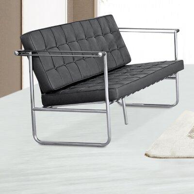 Celona Leather Sofa Upholstery: Black