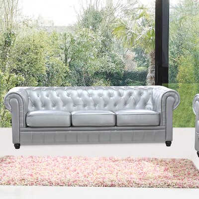 Chestfield Chesterfield Sofa Upholstery: Silver