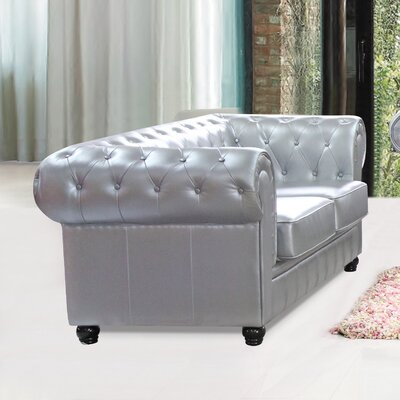 Chestfield Leather Chesterfield Loveseat Upholstery: Silver