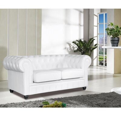 Chestfield Leather Loveseat Upholstery: White